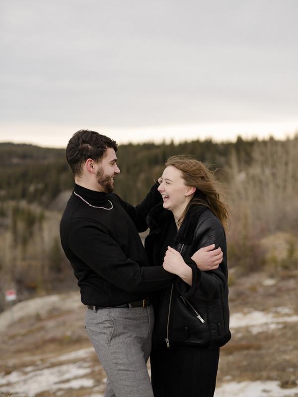 Riley & Bethany couples photoshoot in the mountains in Kananaskis Alberta